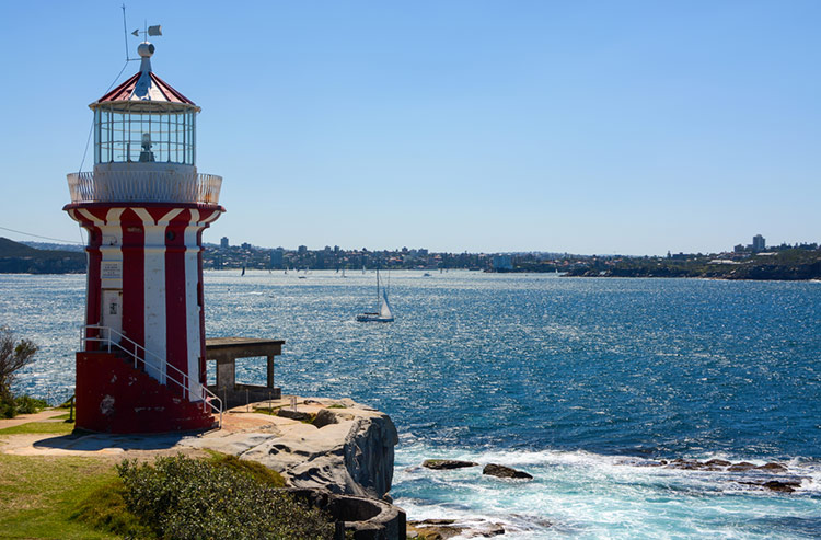 Hornby Lighthouse at South Head, also known as the South Head Lower Light.