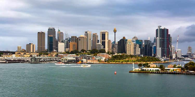 Miniature-like view of the Sydney CBD from an overlook across the harbour.