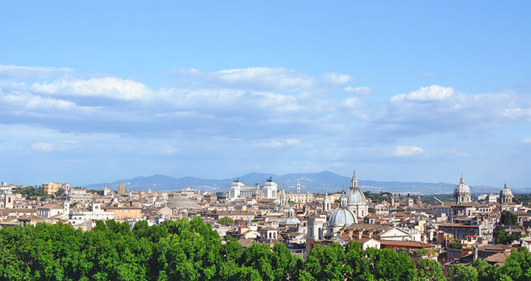 Iconic cityscape of Rome, Italy as seen from Castel Sant'Angelo.