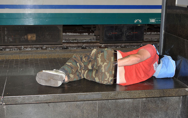 One of many interesting characters I've seen while sleeping in train stations.