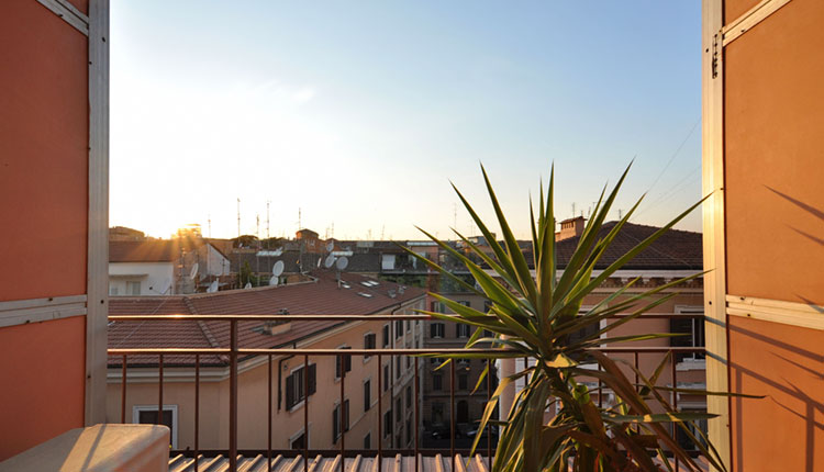 Sunrise view of the city from a hotel in Rome, Italy.