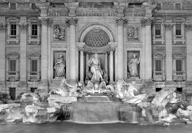 Trevi Fountain at night in black and white.