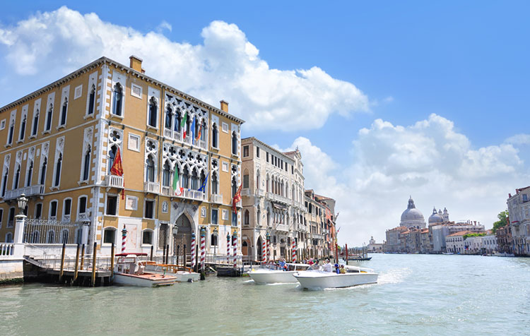 Sights and landmarks along the Grand Canal in Venice.