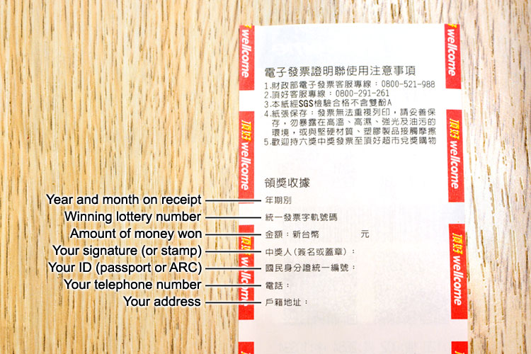 Backside of a receipt from Taiwan with information fields for redeeming Unified Invoice prize money.