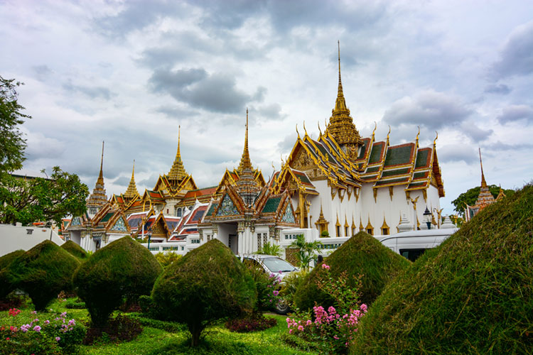 Grand Palace buildings and beautiful landscaping.
