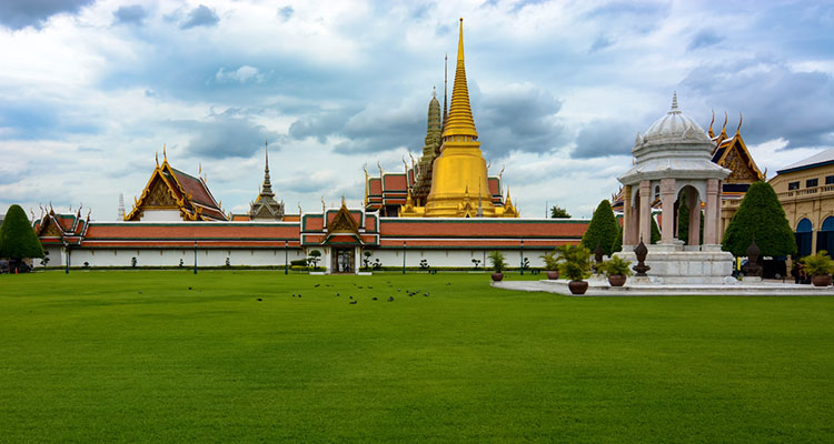 Panoramic view of the grounds at the Grand Palace in Bangkok.