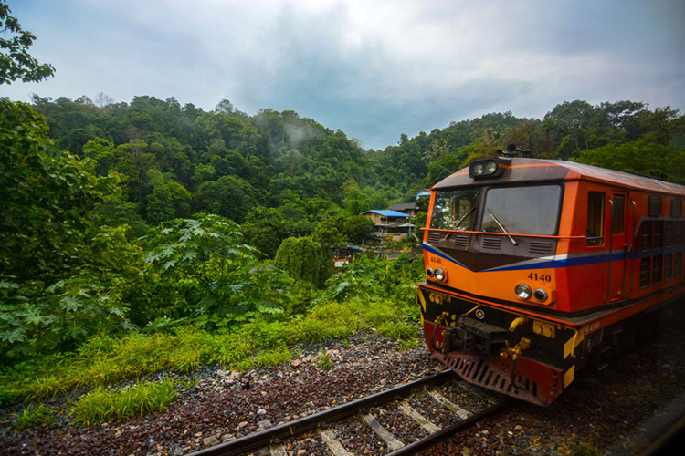Train in the mountains of Thailand, headed for Chiang Mai.